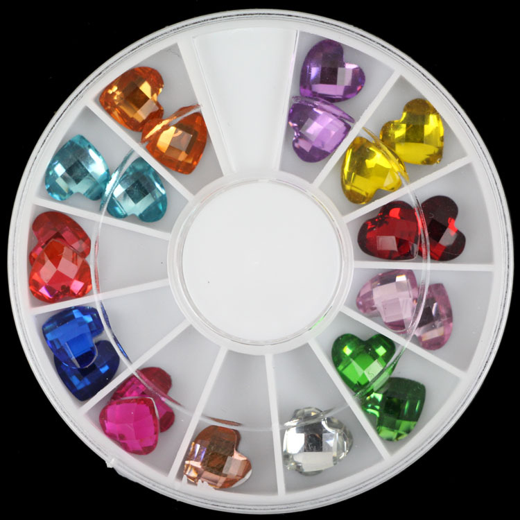 24 pieces/wheel 12 colors High Shining Glass Heart shape 6mm Rhinestone 12 colors heart and star shape mixed