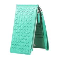 Fashion Small fresh Sheepskin Women Wallets Genuine Leather Weave zipper hasp Solid color Female Card Holder Lady Purse