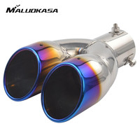MALUOKASA 63mm Universal Stainless Steel Car Dual Air Outlet Exhaust Muffler Tip Pipe For Toyota Nissan
