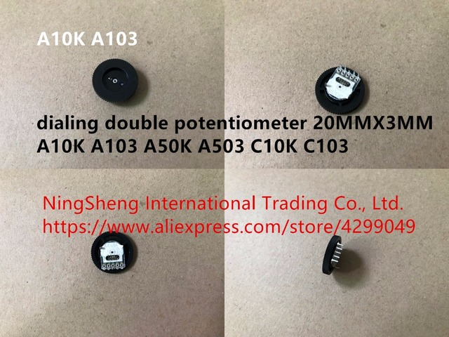 Original new 100% dialing double potentiometer 20MMX3MM A10K A103 A50K A503 C10K C103 (SWITCH)