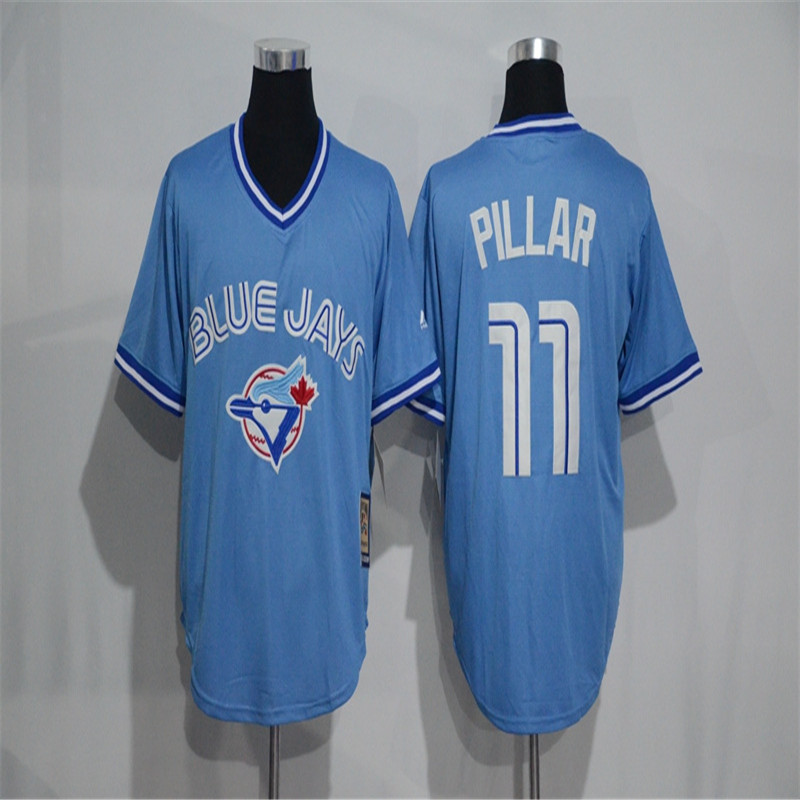 blue jays red jersey stitched mens majestic 11 kevin pillar authentic cream exclusive vintage cool base