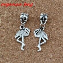 20pcs/lot Dangle Antique Silver Flamingo Crane Charm Big Hole Beads Fit European Charm Bracelet Jewelry 12x35mm A-272 цена и фото