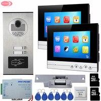 7 дюймовый UI Дисплей Видеодомофоны с видео Запись + 8 ГБ TF карты доступа RFID открытый Камера для 2 Семья + Электрический замок Удар
