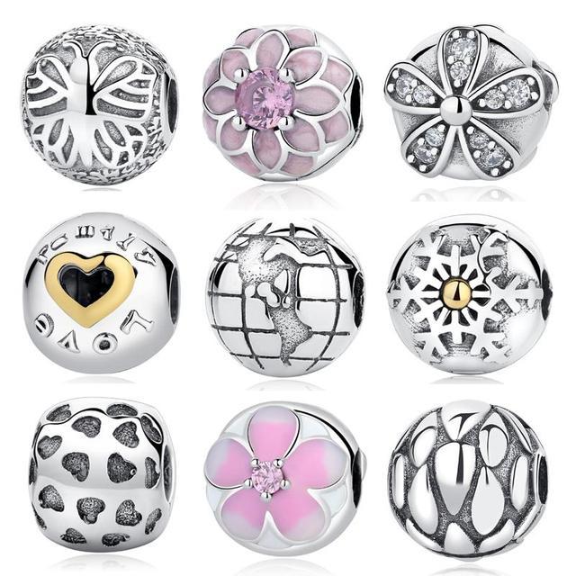 Original Authentic 100% 925 Sterling Silver Globe Bloom Enamel Clip Safety DIY Beads Charms Fit Original Pandora Bracelets Gift