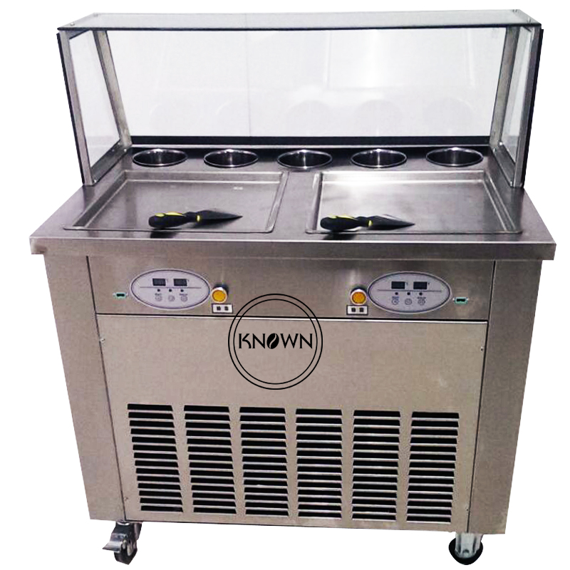 Hot Sale Of Ice Roll Machine Double Pan Fried Ice Cream Machine By Free Shipping