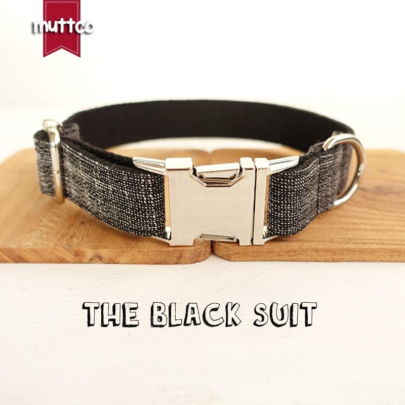 MUTTCO verkoopt hoogwaardige halsband voor honden THE BLACK SUIT design halsband 5 maten UDC007
