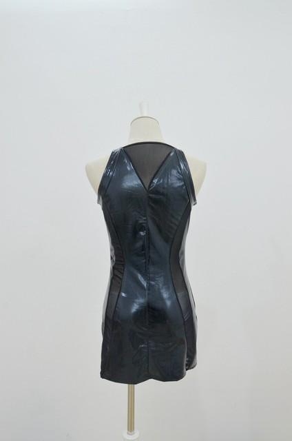 Fantasias Femininas Sexy Pole Dance Lingerie Women's Black Faux Leather Pvc Latex Gothic Erotic Costume Fetish Clubwear Dress