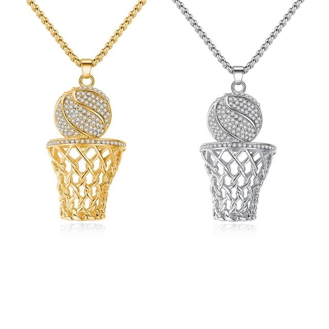 e813b52146c7 1 piezas nuevo baloncesto collar oro plata Color acero inoxidable cadena  collar hombres deportes Hip Hop