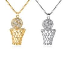 4c0e1637067 1 pièces nouvelle boîte de basket-ball collier or argent couleur acier  inoxydable chaîne collier hommes Sports Hip Hop bijoux