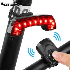 West biking bicicleta lanterna traseira com controle remoto chifre equitação transformar a luz 5 modos lâmpada led mtb ciclismo usb carregável luzes da bicicleta