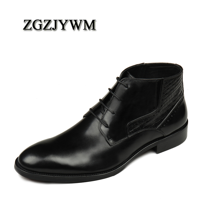 ZGZJYWM High Quality Men Boots Black/Red Lace-Up Ankle Waterproof Rubber Casual Genuine Leather Business Formal Shoes