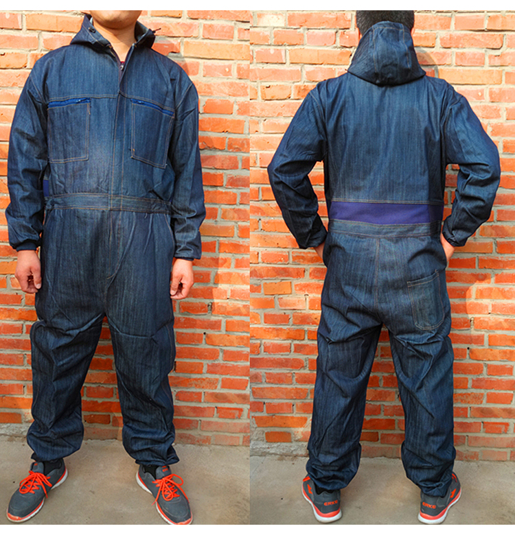 Men Work Clothing Long Sleeve Denim Coverall High Quality Wear resistance Overalls Repairman Machine Auto Repair Working uniform (4)