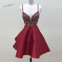 Сексуальное красное короткое выпускное Бисер для платья выше колена Vestidos de Coctel коктейльное платье с открытой спиной 2017 платье для выпускно