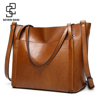 SEVEN SKIN Famous Brands Handbags Women PU Leather Bag Large Casual Tote Bags 2017 Sac New