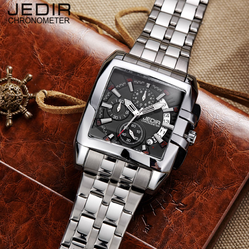 JEDIR Relogio Masculino Watches Men Full Steel Quartz Watch Chronograph Luminous Clock Male Sport Waterproof Wristwatch N46 fashion luxury waterproof analog men sport watch chronograph mens leather watches male clock quartz wristwatch relogio masculino
