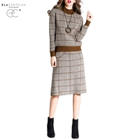 ElaCentelha Women S Sets Autumn Plaid Knee Length Casual Cotton O Neck Winter Long Sleeve Knitted