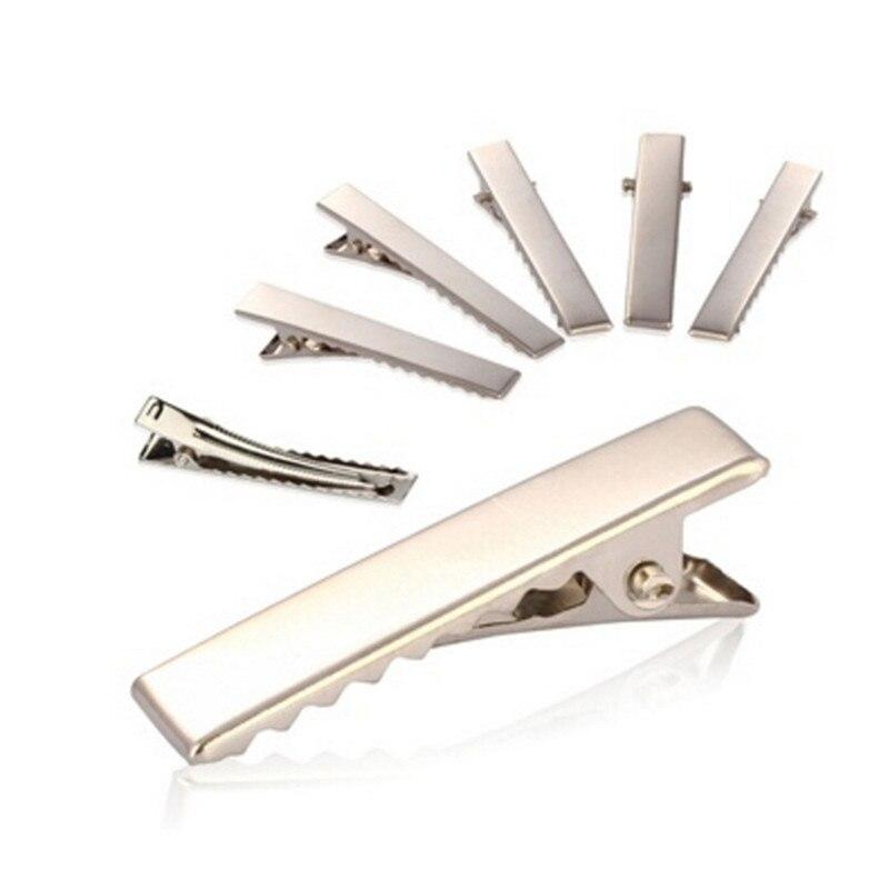 32 мм/35 мм/40 мм/45 мм 50 шт. серебристый плоский металлический Одноместный зубец Аллигатор Заколки для волос заколка Для Луки DIY Интимные аксессуары заколки