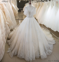Amazing Wedding Dress 2018 A line Real Photo Scoop Neckline Royal Train Lace Up Plus Sizes Vestidos De Novia With Beaded Flowers