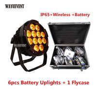 6 pcs/lot flycase IP65 batterie puissance LED sans fil DMX Par lumière 12x18 W RGBWA UV 6IN1 WIFI contrôle Par peut mariage DJ Uplight