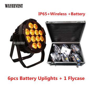 6 unids/lote flycase IP65 de energía de la batería LED inalámbrico DMX Par luz 12x18 W RGBWA lavado UV 6IN1 Control WIFI par boda Uplight