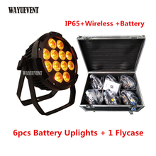 6 шт./лот flycase IP65 светодиод на батарейке беспроводной dmx светильник Par 12×18 Вт RGBWA UV 6в1 Wi-Fi управление Par может свадебное освещение ди-Джея
