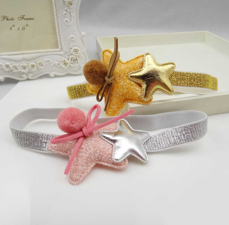 1 PCS   Creative Five-Pointed Gold And Silver Children Elastic Hair Band Girls Hair Accessories Baby Headbands Kids Headwear