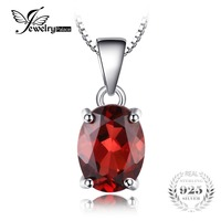 JewelryPalace Oval 2 5ct Natural Red Garnet Birthstone Solitaire Pendant Necklace Solid 925 Sterling Silver 45cm