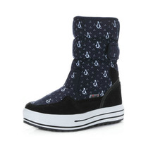 New Christmas Winter Shoes Women Snow Boots Girl Mid Calf Warm Fur Boots Printed Cotton Boots Flat Platform Boots Ladies Booties