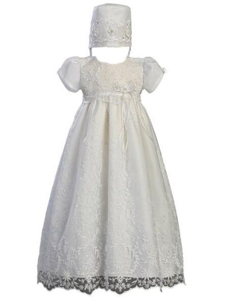 Noble alta qualidade menina do batismo do bebê vestido branco / marfim batismo vestido de rendas Beading Robe de cetim 0-24 meses com capota