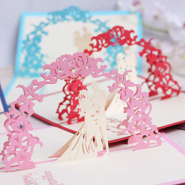 Doreenbeads 3d Card Sweet Wedding Pop Up Card Valentine S Day