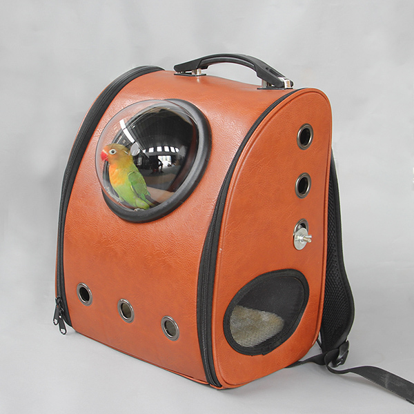 Outdoor leather Bird backpack Parrot Carriers Cage Parrot Bag With Wood Perch Pet Breathable Space Capsule Backpack CW081