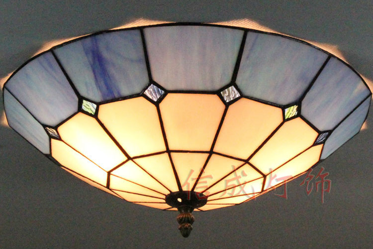 12 16 Inch Tiffany Stained Gl Ceiling Lights Blue And White Squares Pattern Flush Mount Handmade Lampshade The Kitchen Lamps In From