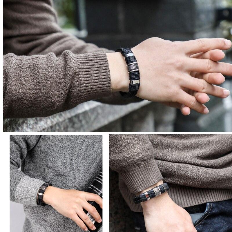 Mcllroy Genuine Leather Bracelet Men Homme Multi-layer Gold/steel/Black Magnet Buckle Mens Bracelets 2019 Punk Jewelry Gifts