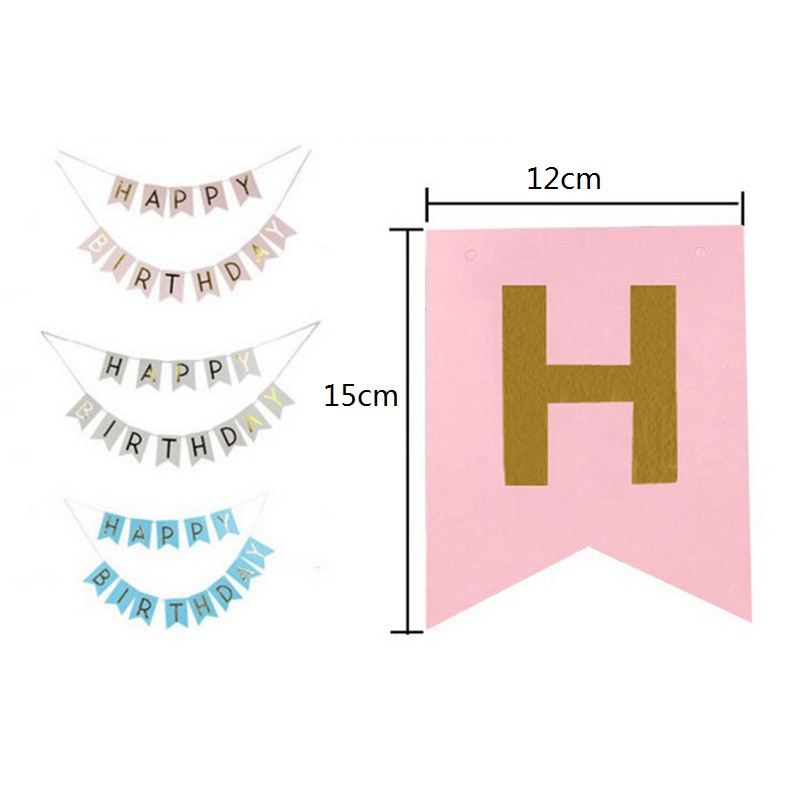 1 Set Glitter Happy Birthday Bunting Banner Gold Letters Wall Hanging Babys Favor Birthday Party Decor Baby Shower Supplies 8