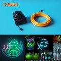 Hot 2.3mm 15 M 10 color Select fio Eletroluminescente Flexível Iluminação Do Feriado Brilhante Alimentado por DC12V Motorista Brinquedos Luminosos