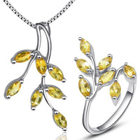 Beautiful leaf shape yellow crystal jewelry sets ring pendant necklace pure 925 silver citrine peridot fine jewelry for party