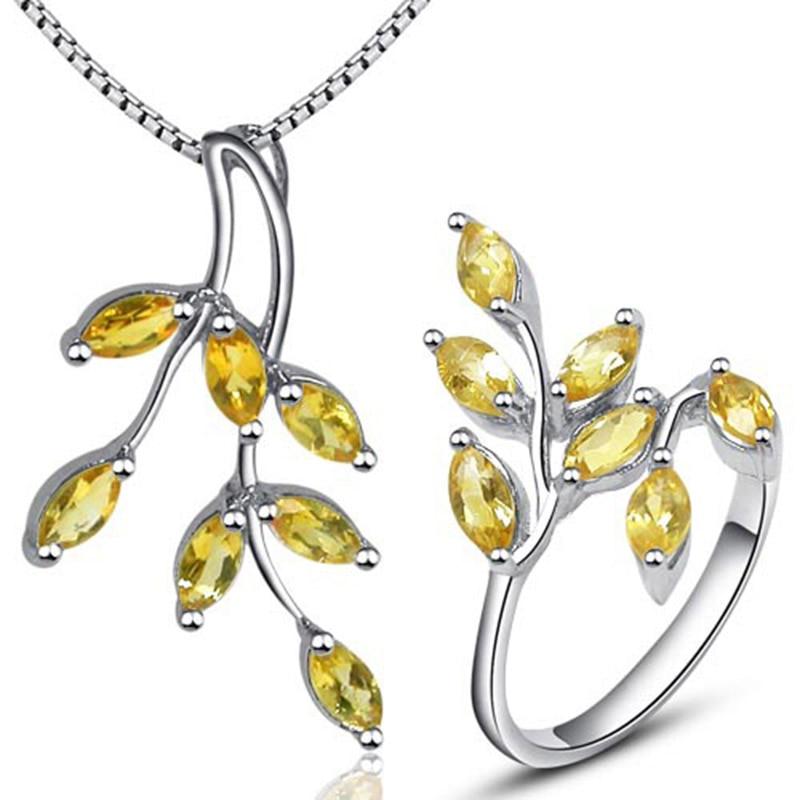 Belle feuille forme jaune cristal bijoux ensembles anneau pendentif collier pur 925 argent citrine péridot bijoux fins pour la fête