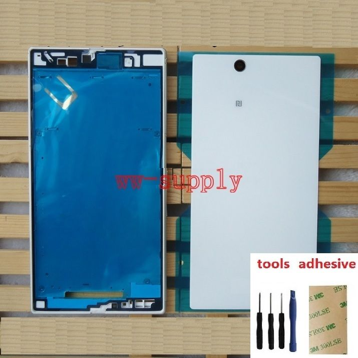 For Sony Xperia Z Ultra XL39h C6802 C6803 C6833 Full Housing Front Frame Chassis + Back Battery Cover Case+Port Dust Plug Cover|full housing|dust plug cover|back housing - title=