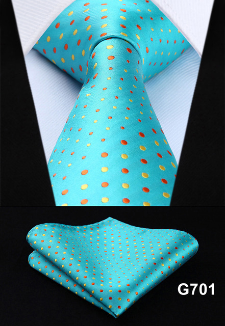 "Polka Dot Check Plaid Floral 3.4"" Silk Jacquard Party Wedding Woven Men Tie Fashion Designers Necktie Handkerchief Set #G7  1"