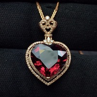 Fine Jewelry Customized Collection Real 18K Rose Gold 100% Natural Heart Cut Tourmaline Gemstone Diamond Pendant Necklace
