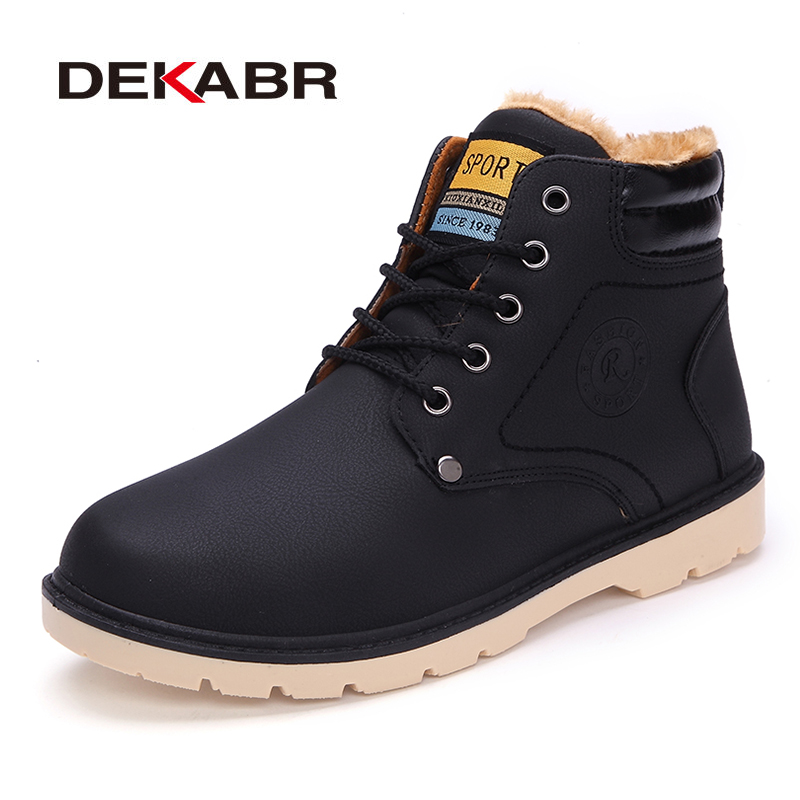DEKABR Super Warm Men's Winter Pu Leather Ankle Boots Men Autumn Waterproof Snow Boots Leisure Martin Autumn Boots Shoes Mens