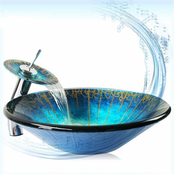 Colorful printed wash bowl and faucet set tempered glass blue hand wash basin hand washing pots with drainage bracket VT0033