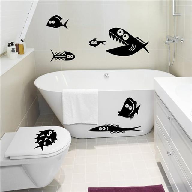 Lustige fische Vinyl Wandtattoos Badezimmer Badewanne Wand aufkleber ...