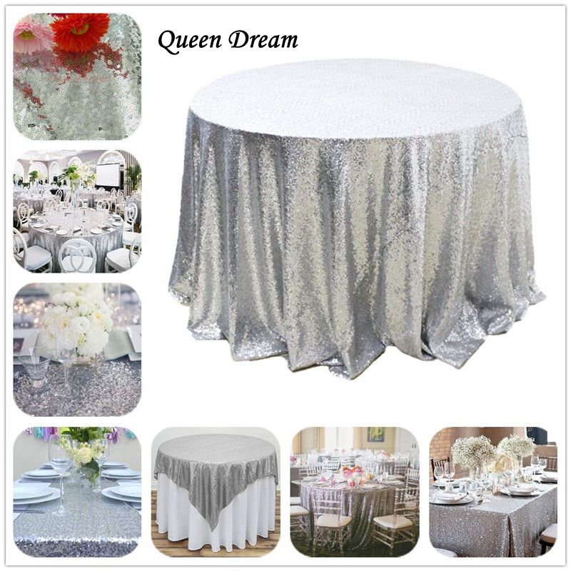 50u0027u0027 Round Silver Sequin Table Cloth Wholesale Wedding Beautiful Sequin Round  Tablecloth
