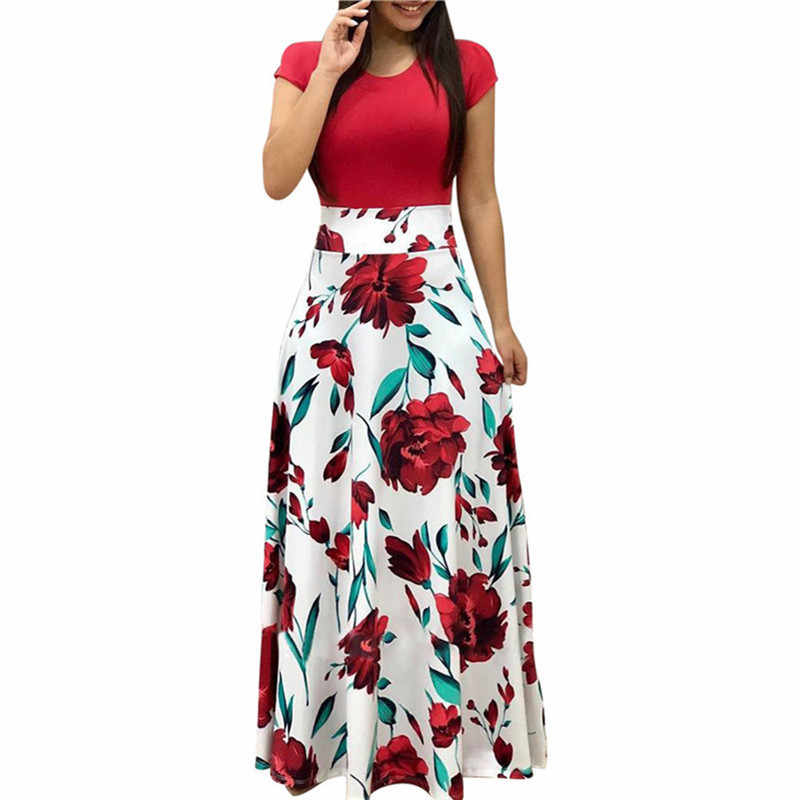 Vintage Floral Print Patchwork Long Dress Women 2019 Casual Short Sleeve Party Dress Elegant O Neck Ladies Maxi Dress Sundress