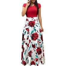 40727668b2001 Kadın Yaz uzun elbise Çiçek Baskı Bohemian Plaj Maxi Elbise Casual  Patchwork Kısa Kollu Parti Elbiseler