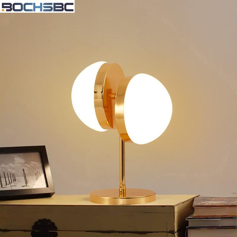 BOCHSBC Modern Half Sphere Table Lamps For Bedroom Living Room Study Decoration Glass Table Light Lamparas Tischlampe Tafellamp