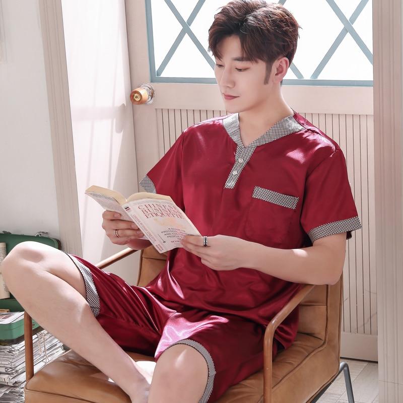 Satin Pyjama Summer 2019New Casual Lapel Shirt Shorts 2 Piece Set Men's Pajamas Solid Color Large Size Home Clothing Pijama XXXL