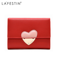 LAFESTIN Genuine Leather Patchwork Wallet Women Short 100% Leather Coin Purse Lady Credit Card Holder Zipper Women's Wallet zoress women genuine leather coin purse with key ring candy color lady s triple zipper mini credit card holder wallet