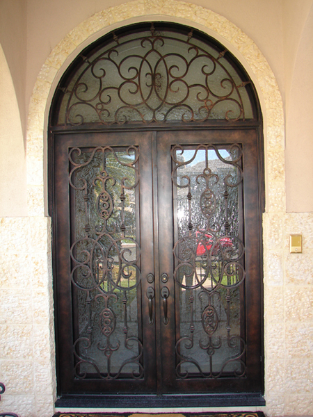 Wrought Iron Entry Door ROT 015 Interior Double Doors And Beautiful Iron  Transom With Glass